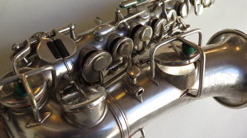 Saxophone soprano courbe selmer stencil Buescher argenté sablé (1)