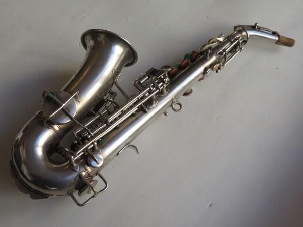 Saxophone soprano courbe selmer stencil Buescher argenté sablé (10)