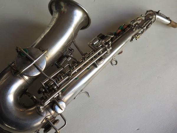 Saxophone soprano courbe selmer stencil Buescher argenté sablé (12)