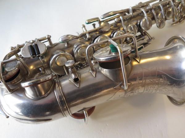 Saxophone soprano courbe selmer stencil Buescher argenté sablé (5)