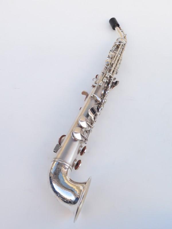 saxophone soprano King Saxello argenté sablé plaqué or (2)