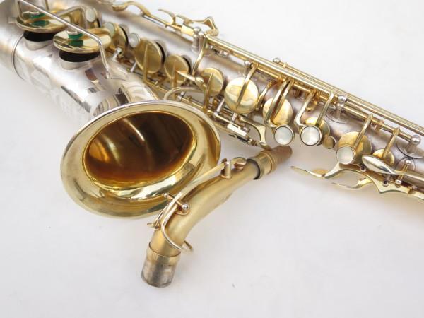 Saxophone soprano Dolnet Artiste argenté sablé plaqué or (1)