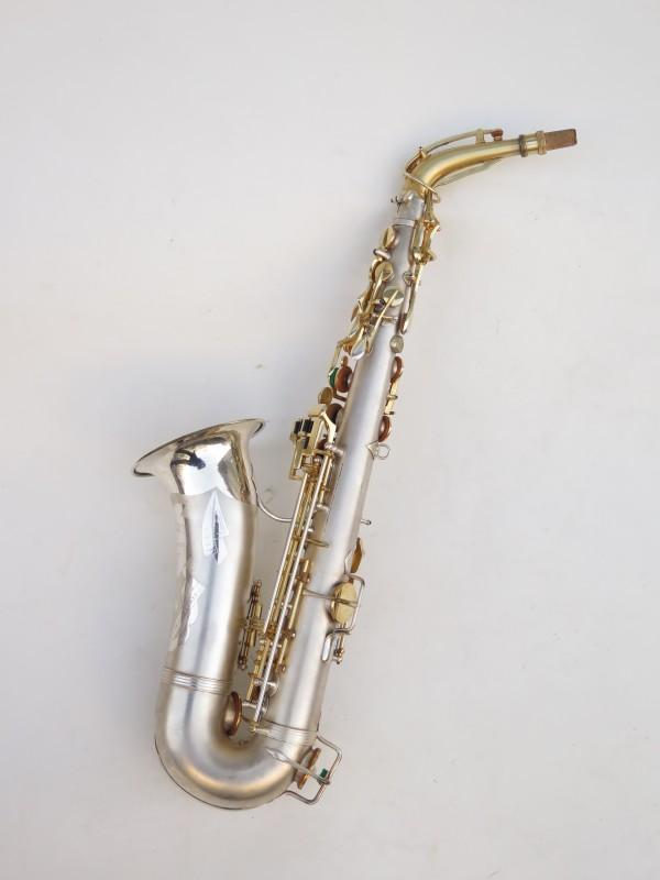 Saxophone soprano Dolnet Artiste argenté sablé plaqué or (4)